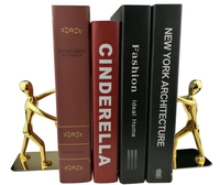 1Pair Creative Cool Bookends Metal Stainless Steel Human shaped Decorative Book Holder Stand for Office Home Stationery