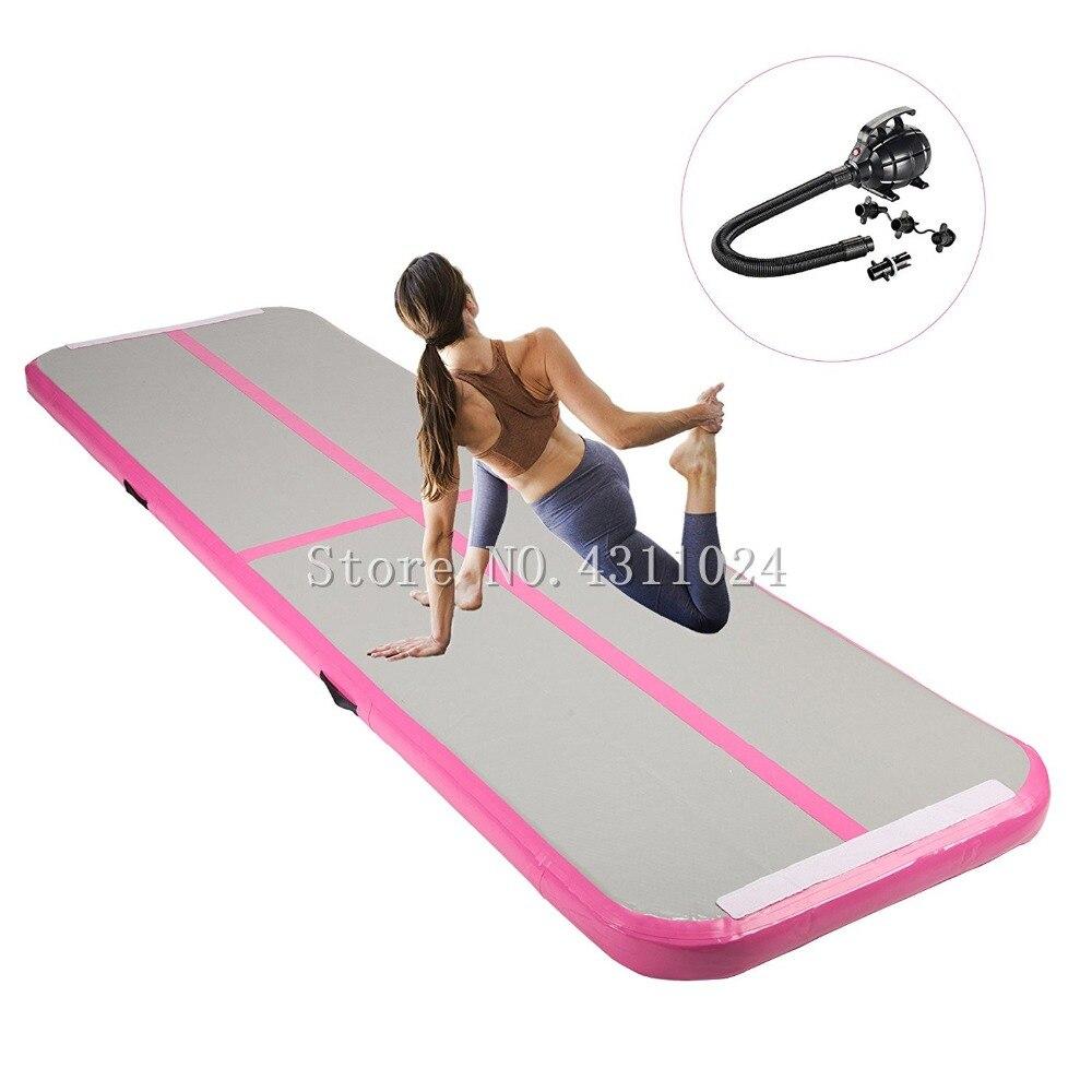 Inflatable Gymnastics Tumbling Mat Air Tumbling Track With Electric Pump Gymnastic Air floor Mat Tumbling Floor Mat Pink цена