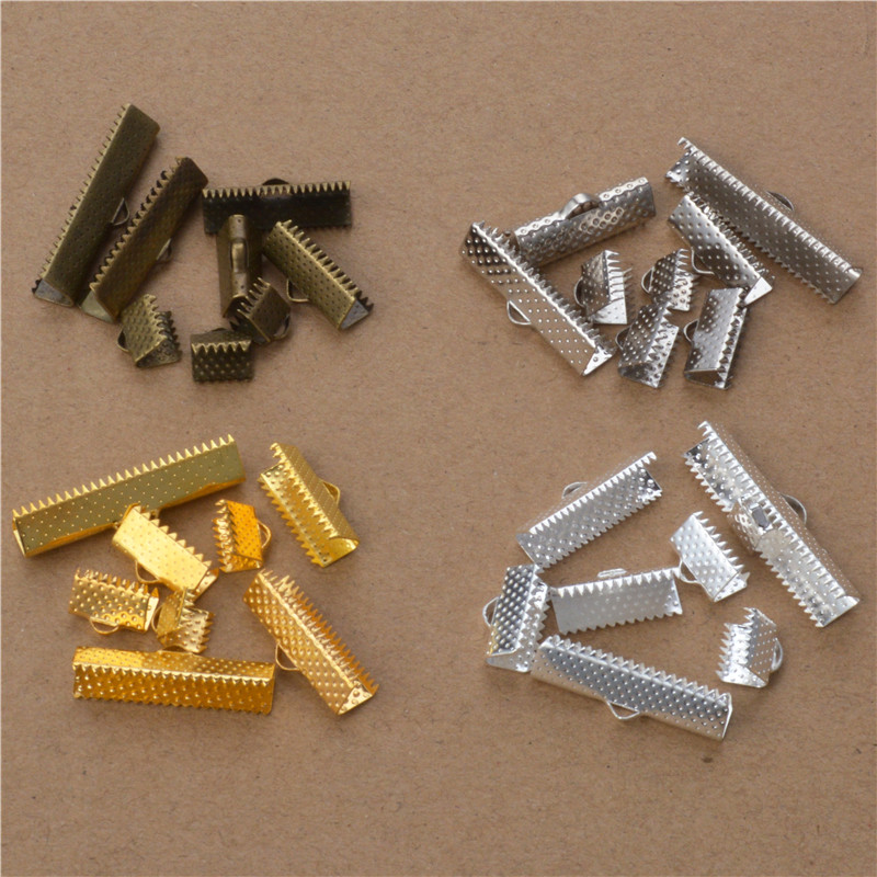 Pack of 200 Pcs Pack of 100 Pcs Pack of 50 Pcs Ribbon Ends Cord Ends with Extender Chain for LeatherFabricThread Work
