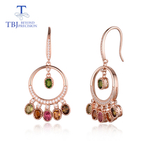 TBJ,High quality natural multi-color tourmaline 925 sterling silver hook earring for girl birthday party or daily wear nice gift