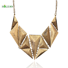 Women geometric necklace&pendents Hot new african old Gold-color choker egyptian triangle collier pendients mujer maxi bijoux