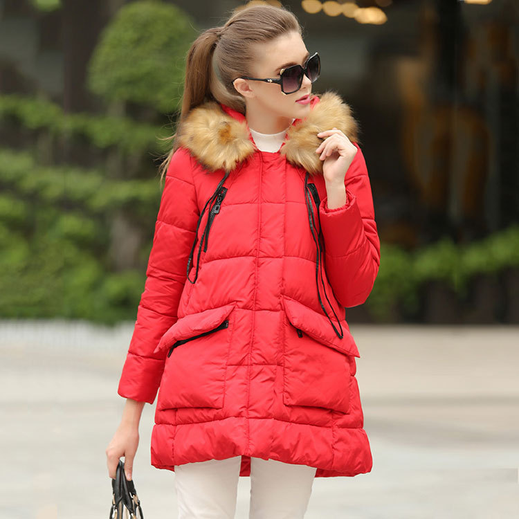 2016 Europe winter new style cotton hooded long wool collar slim padded warm coat women long parkas wholesale factory outlets 2014 new winter in europe and america women british style stitching cotton quilted jacket short parkas coat