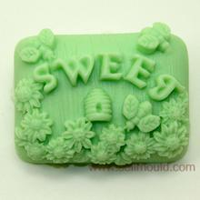 3D Insect Honey Bee Soap Molds Rectangle Food grade Silicone Making Mold Flower Pattern