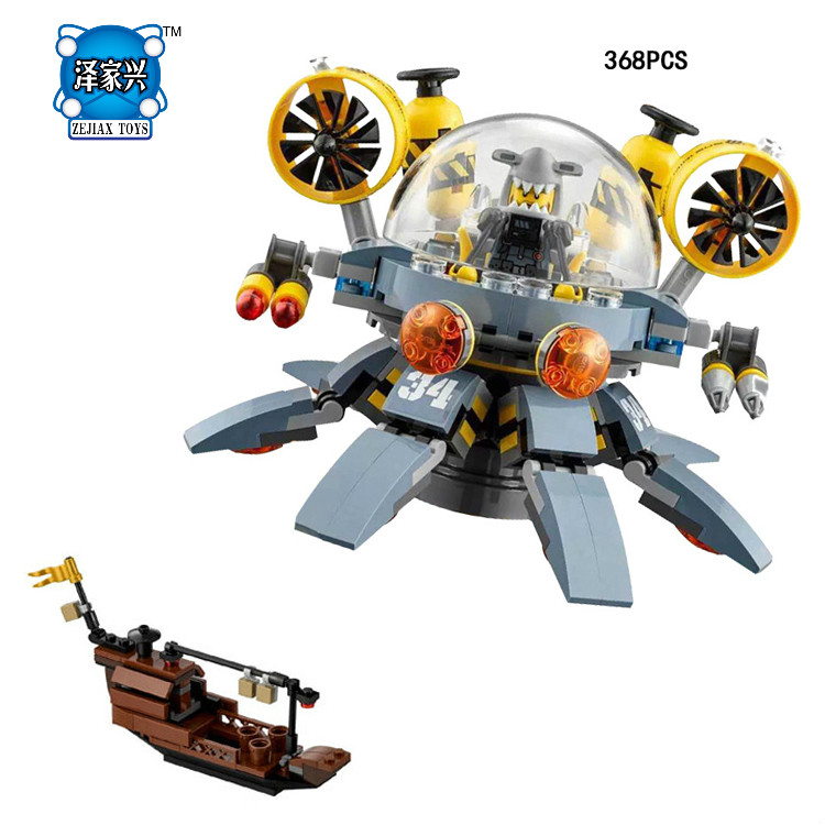 Hot Ninja Movie Flying Jelly Submarine Lepins Building Block Jay Shark Man Figures Mecha Ship Bricks Toys for Kids Gifts hot classic movie pirates of the caribbean imperial warships building block model mini army figures lepins bricks 10210 toys