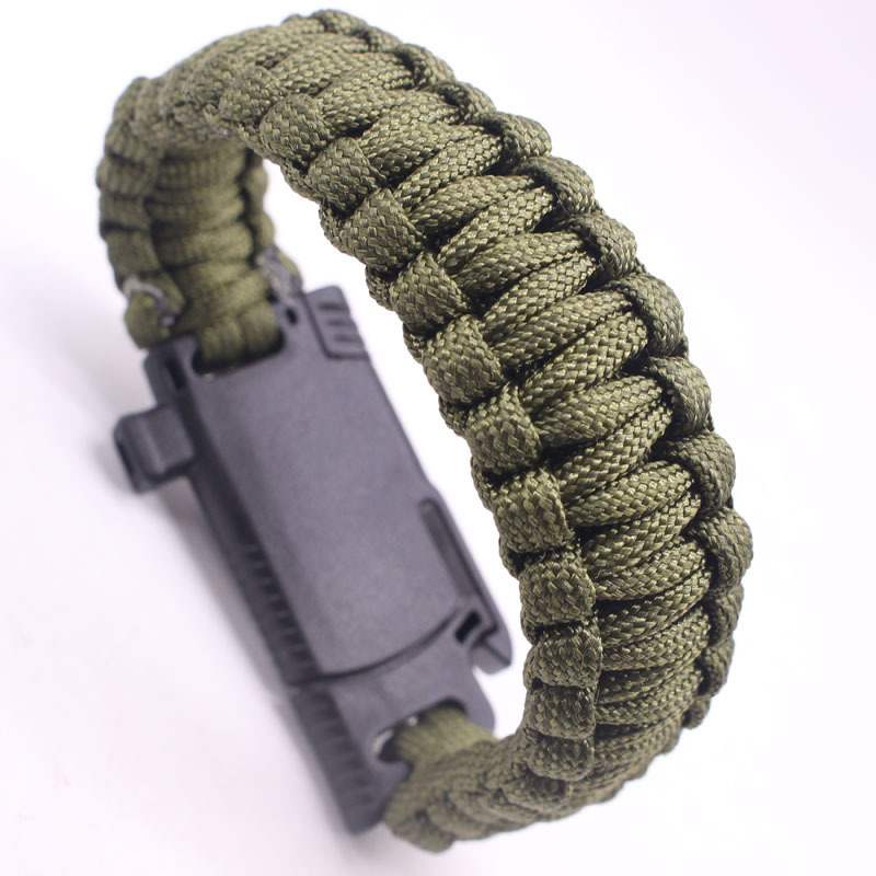 Outdoor Survival Bracelet for Men Women Braided Paracord Camping Hiking Rescue Emergency Rope Bangles Compass Whistle Knife