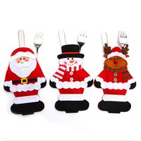 Christmas Ornament New year Christmas Decoration for home table Decor Cutlery pocket Fork&Knife Tableware pouch