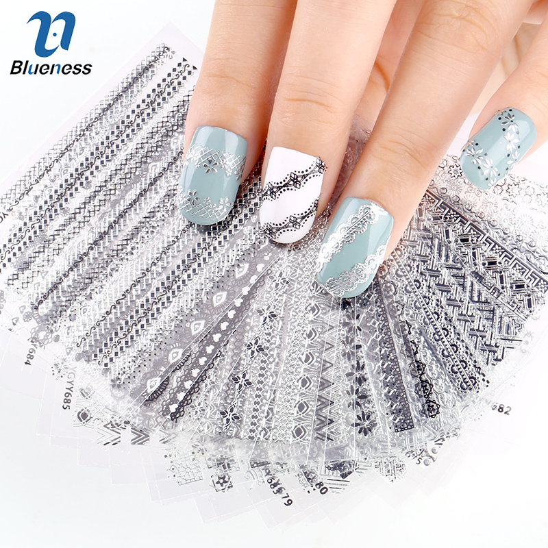 24 Pcs/Lot  Stripe Glitter Diy Decorations For Nails Beauty 3D Nail Art Of Bronzing Stamping Manicure Stickers JH151 Best Gift happyxuan 12pcs lot crystal glitter eva mosaic stickers puzzle kindergarten diy art craft material kit educational toys series q