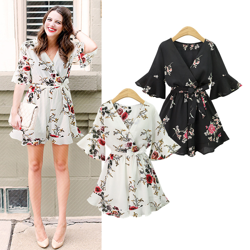 Short Sleeve Floral Print Women Rompers Women Summer Bohemian Bodysuit Short Jumpsuit Sexy V-neck Playsuit Overalls Boho Clothes