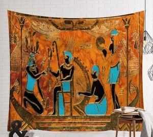 Image 4 - Cammitever 빈티지 이집트 시간 벽 교수형 사람들 침대 시트 장식 태피스 트리 미스터리 아트 비치 매트 130x150cm 150x200cm