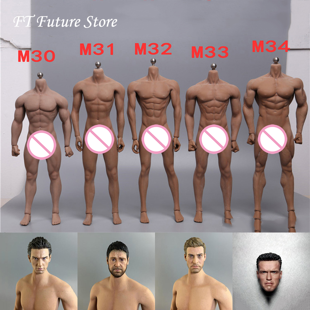 Collectible 1/6 Male TBLeague M30 M31 M32 M33 M34 Strone Muscle Super-Flexible Seamless Body Accessory For 12'' Action Figure