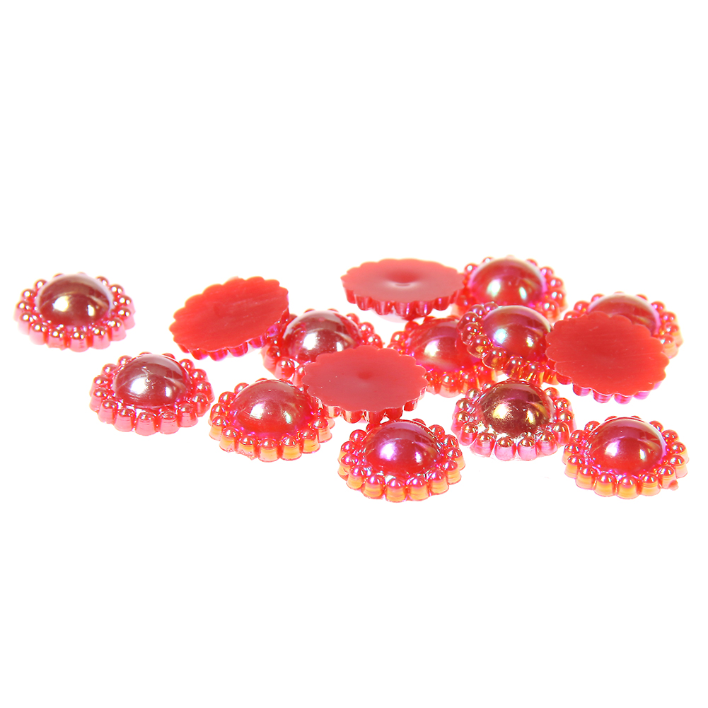 №9-12mm 100/200pcs Red AB ABS Resin Half Round Imitation Pearls ...