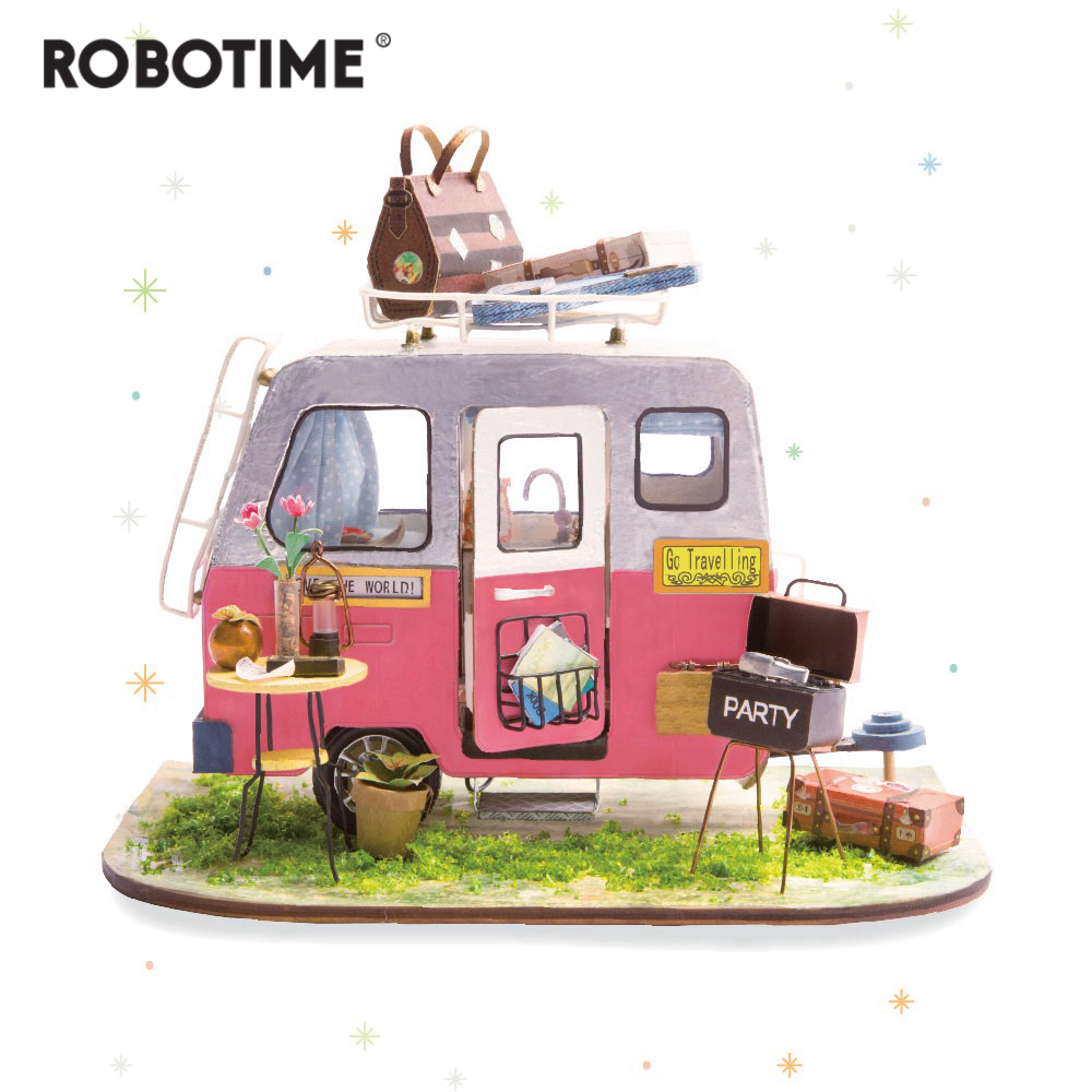 Robotime DIY Happy Camper with Furniture Children Adult Miniature Wooden Doll House Model Building Kits Dollhouse Toys DGM04-in Doll Houses from Toys & Hobbies