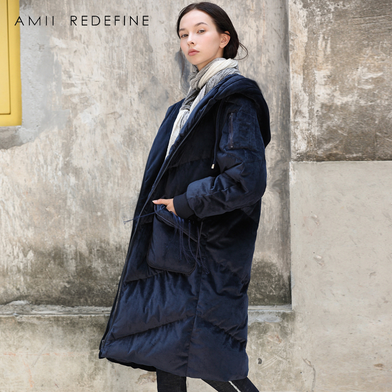 Amii Redefine Causal Long   Down   Jacket Women Winter 2018 Warm Thick Solid Embroidery Tassel Female Hooded   Down     Coat