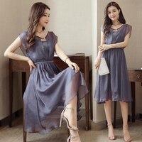 Women's Vintage Dress Plus Size Sweet Lady Long Sleeve O Neck Casual Summer Chiffon Chinese Style Dress