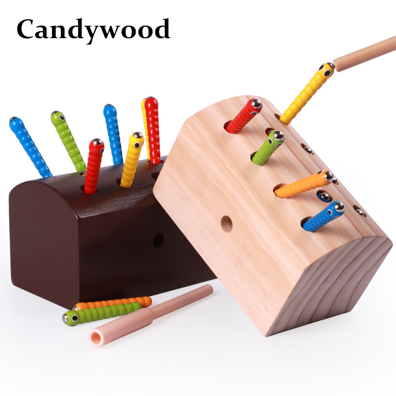 Candywood Wooden catch caterpillar toys for  baby kids educational children early learning Parent-child interaction toys block catch the worm magnetic toys for children early learning educational toy wooden puzzle game colorful toy for kids p20