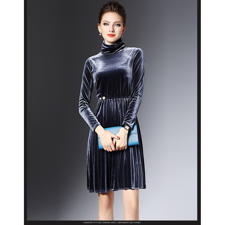 Image 5 - 2016 New Fashion Autumn Winter Warm Turtleneck Velvet Dress For Women Pearl Elegant Vintage Sexy Party Dresses Pleated Vestidos-in Dresses from Women's Clothing
