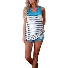 2017 Women  Women's Fashion Tribe Stripe Pocket Tank Top Sleeveless Tops Brand NEW high Quality May 25