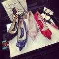 Hebillas cuadradas Mujeres Bombas Marca Boca baja Tacones Medianos Zapatos de Mujer Elegante de Las Señoras Se Deslizan En Charol Punta estrecha
