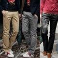Vestido Lápis Magro Calças Casuais dos homens Slim Fit Straight-Leg Jeans Sólida Faixa Calças de Lazer Primavera Outono Masculino homens de Roupas