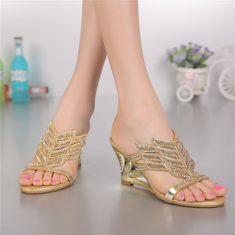 2016 Summer New Diamond Slope With High Heeled Wedges Online Shoes Sandals Size 11 Womens Golden Open Toe Slippers3