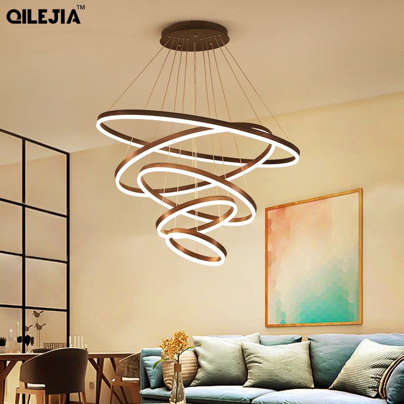 Brushed Coffee Circular Rings In Coffee Modern LED Chandelier for Dining Room Living Room Suspension Chandelier Lamp FixturesBrushed Coffee Circular Rings In Coffee Modern LED Chandelier for Dining Room Living Room Suspension Chandelier Lamp Fixtures
