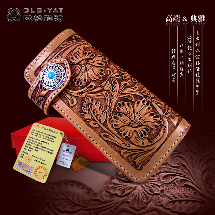 OLG.YAT Italian Vegetable tanned leather handmade women wallets Arabesque purse long hasp wallet womens handbag Choi cloth bag olg yat leather handmade wallet men purse womens handbag italian vegetable tanned cowhide wallets the book button long handbags