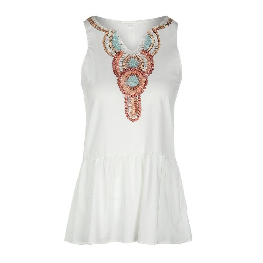 Womens Summer Loose Dress Bohemian Retro Print V Neck Beach Dreses Buttons Back Summer Sleeveless White Dress #L