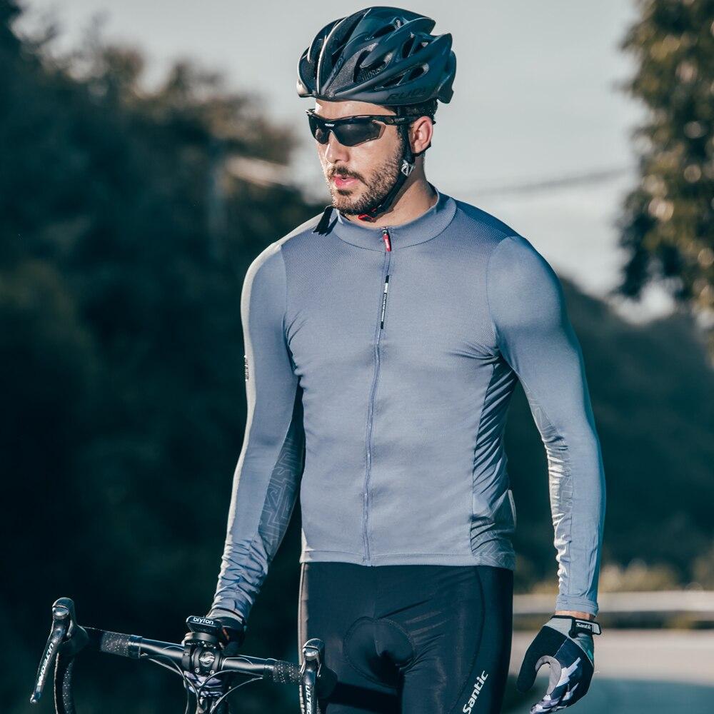 Santic hommes manches longues maillot de cyclisme Pro Fit vélo de route vtt maillot respirant réfléchissant descente maillot 4 couleurs S-3XL