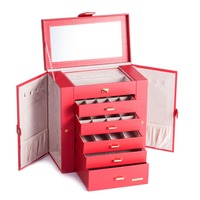 Extra Large Red Jewelry Box Mirrored Jewellery Cabinet Portable Trinkets Armoire Luxury PU Bracelets Necklaces Carrying