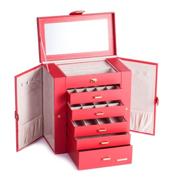 Extra Large Red Jewelry Box Mirror Jewellery Cabinet White Portable Trinket Armoire Luxury PU Bracelets