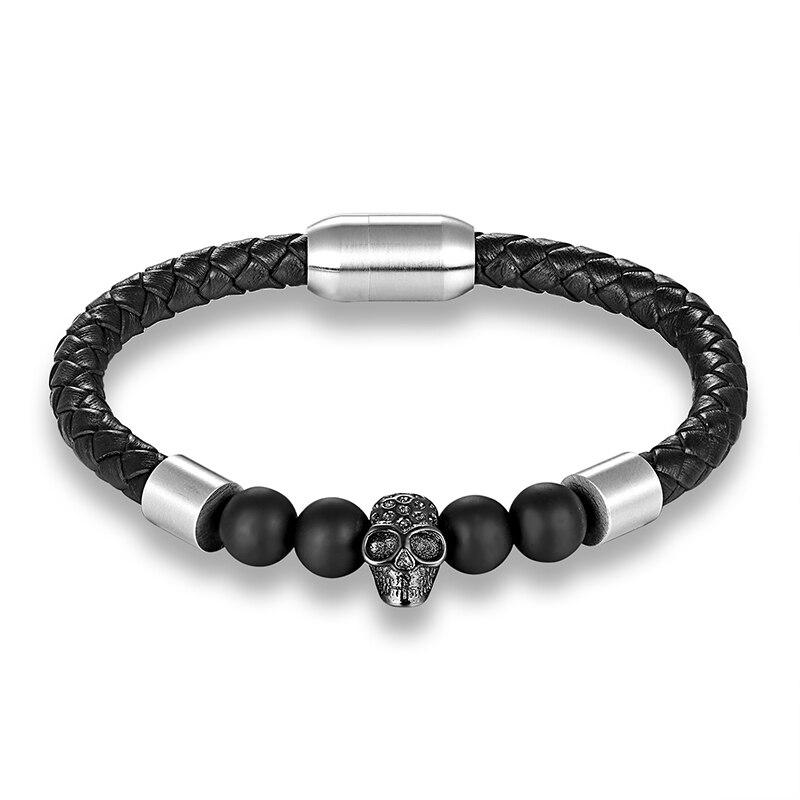 LIVVY Men's Jewelry Black Woven Leather Bracelet Men's Stainless Steel Bracelet Cool Shantou Men's Bracelet Jewelry