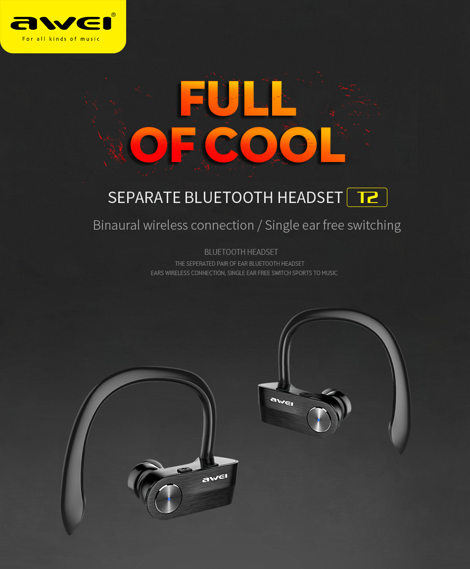 Bluetooth 4.2 Wireless Bluetooth Earphone TWS Stereo Headset Cordless Ecouteur for Phone Auriculares With Microphone AWEI T2 best price mini bluetooth headphones for mobile phone wireless earpiece earphone cordless stereo headset microphone feb8