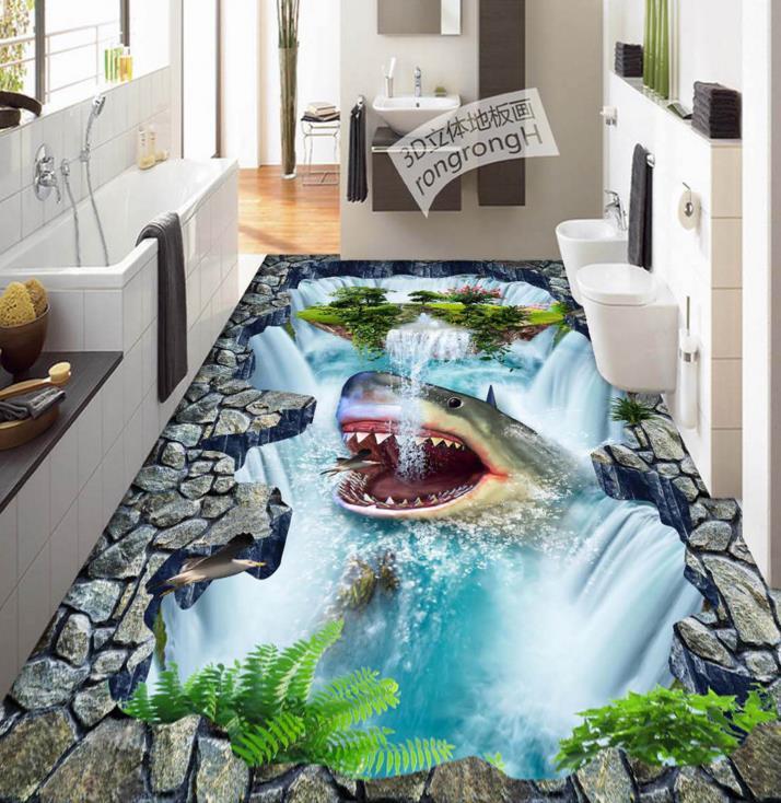 3d Floor Custom Wallpaper Bedroom 3d Flooring Shark Waterfall Self Adhesive Vinyl Flooring Waterproof Mural Wallpaper Custom Wallpaper Mural Wallpaperwallpaper Bedroom Aliexpress