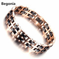 Fashion Rose gold Plated Stainless steel magnetic health bracelet for Mens Ceramic bracelet