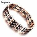 Moda Rose Banhado A ouro de aço Inoxidável pulseira magnética saúde para Homens pulseira de Cerâmica