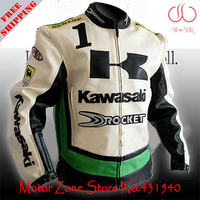 Japan Kawasaki motorcycle jackets in 3 colors white green black men's motorbike racing jackets protection PU leather M 2XL J9