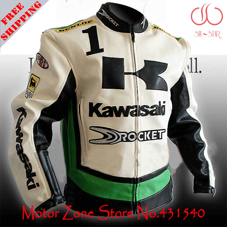 Japan Kawasaki motorcycle jackets in 3 colors white green black men's motorbike racing jackets protection PU leather M-2XL J9 jacquard green label silk colors cyan [pack of 3 ]