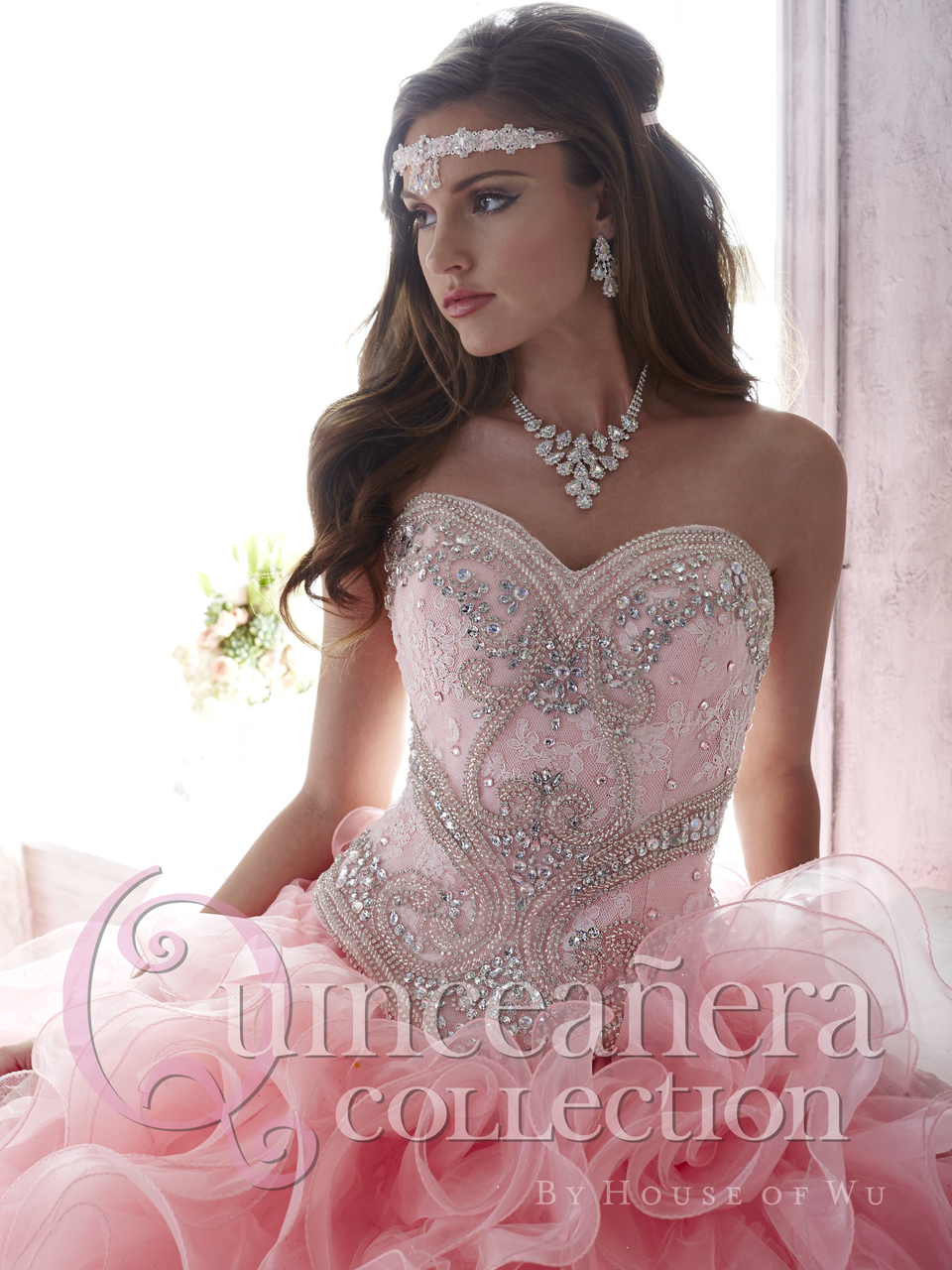 Luxury Beaded Lace Sweetheart Light Pink Puffy Quinceanera Dresses ...