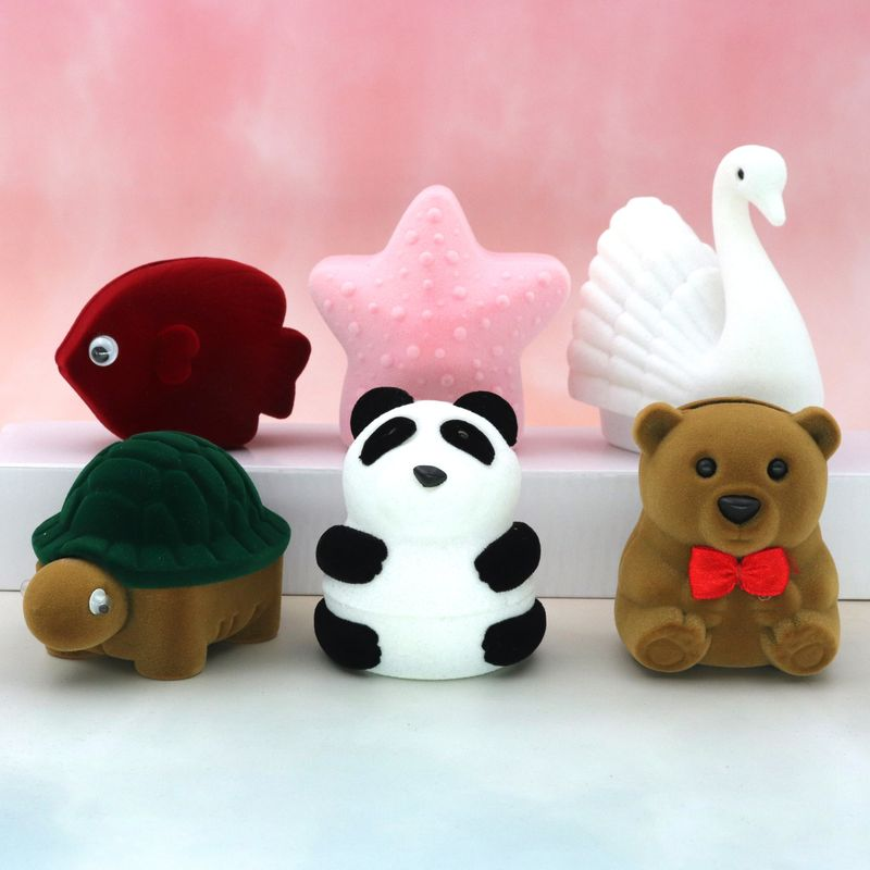 Velvet Lovely Panda Bear Star Fish Swan Tortoise Necklace Ring Earrings Casket Present Gift Boxes For Jewellry Wrap Wholesale