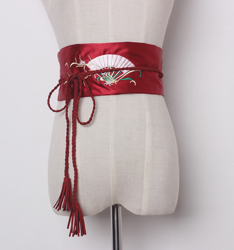 Women's Runway Fashion Vintage Embroidery Satin Cummerbunds Female Dress Coat Corsets Waistband Belts Decoration Wide Belt R1203