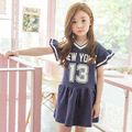 ruffles white blue letter baby big girl clothing 2017 new summer dress girl 10 11 12 years clothes kids party dresses for girls