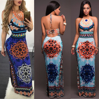 2017 Side Waist Dress Fashion Personality And Slit Hollow Printing Package Hip Skirt Long Straps