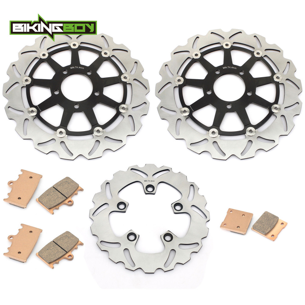 BIKINGBOY Front Rear Brake Discs Disks Rotors Pads For Suzuki GSXR 600 97 03 GSX R