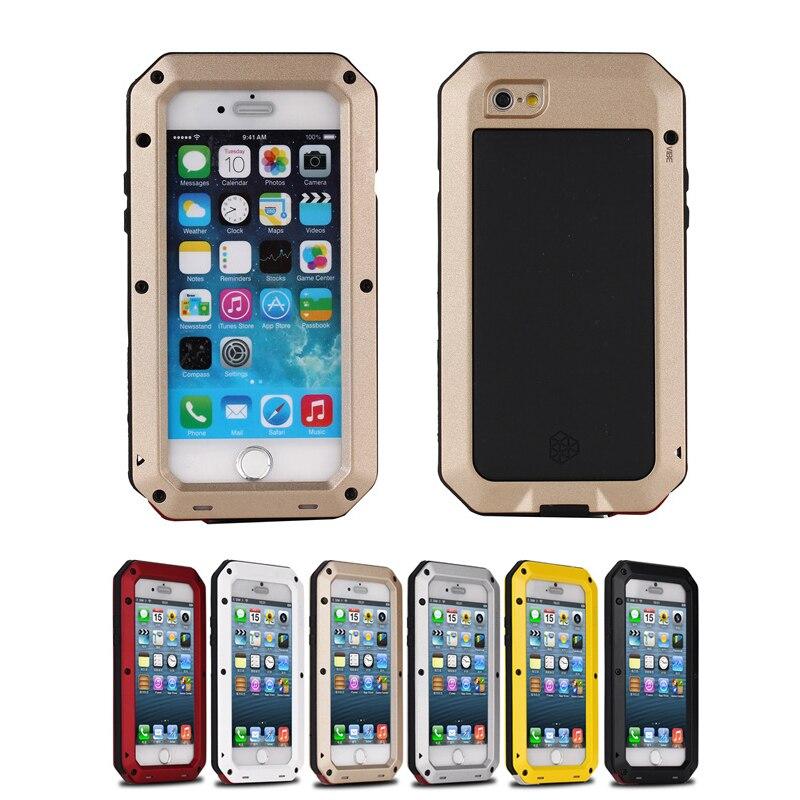 imágenes para Vida de Choque de tierra A Prueba de agua A Prueba de Choques de Aluminio del Metal cubierta de la caja de protección completa para el iphone 7 6 s 6 más 5 5S SÍ anti golpes casos