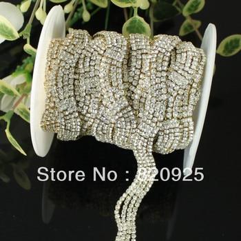 Vestido de novia de cadena de oro de diamantes de imitación brillante 1yd