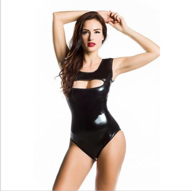 da5b1deed3 PU Leather Bodysuit Women Jumpsuit Faux Leather PVC Wet Look Bodysuit  Catsuit Leotard Tops Playsuit Sexy Overalls for Women