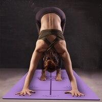 Linha De posição Mais longo de Borracha Natural Não-Tecido de Camurça Antiderrapante Tapete de Yoga Perder Peso Exercício Esteira da Aptidão Tapete de Yoga