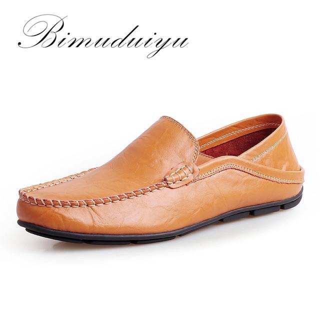 BIMUDUIYU Mannen Platte Schoenen Kwaliteit Leer Mannen Loafers Effen Zwart Ademend Slip-On Casual Schoenen Grote Maten Zacht Rijden schoenen