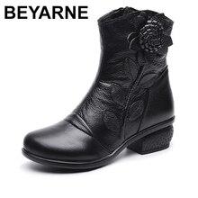 BEYARNE sonbahar kış Retro çizmeler el yapımı yarım çizmeler gerçek hakiki deri ayakkabı Botines Mujer kadın ayakkabı bayanlar deri çizmeler