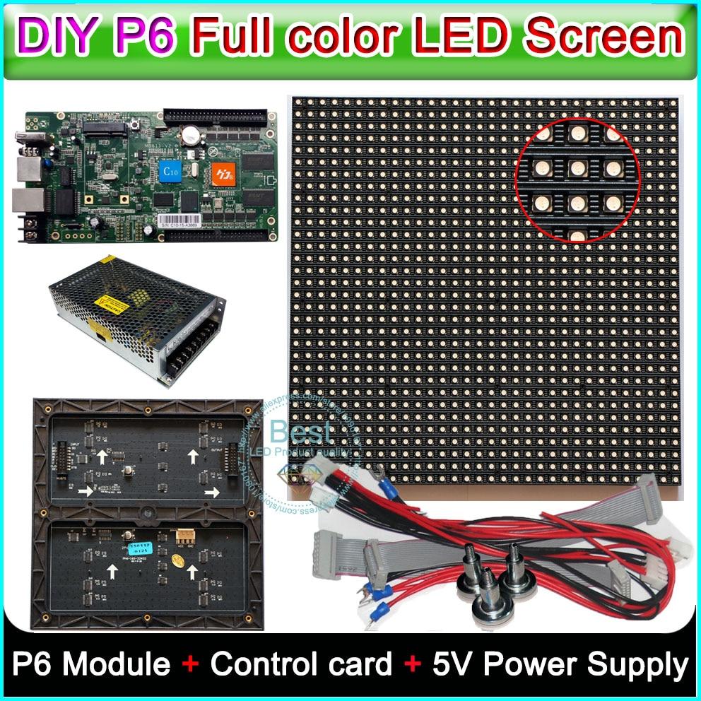 DIY P6 Indoor full color LED display,Led sign,RGB P6 LED Module (192*192mm)20PCS/0.75sq.m. +HD-C10 Control card+5V Power supply